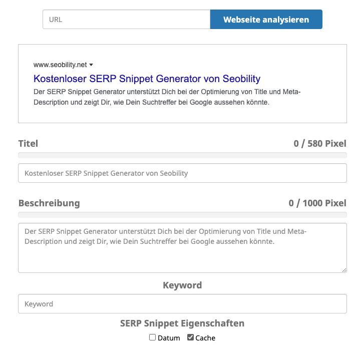 Der SERP Snippet Generator von seobility