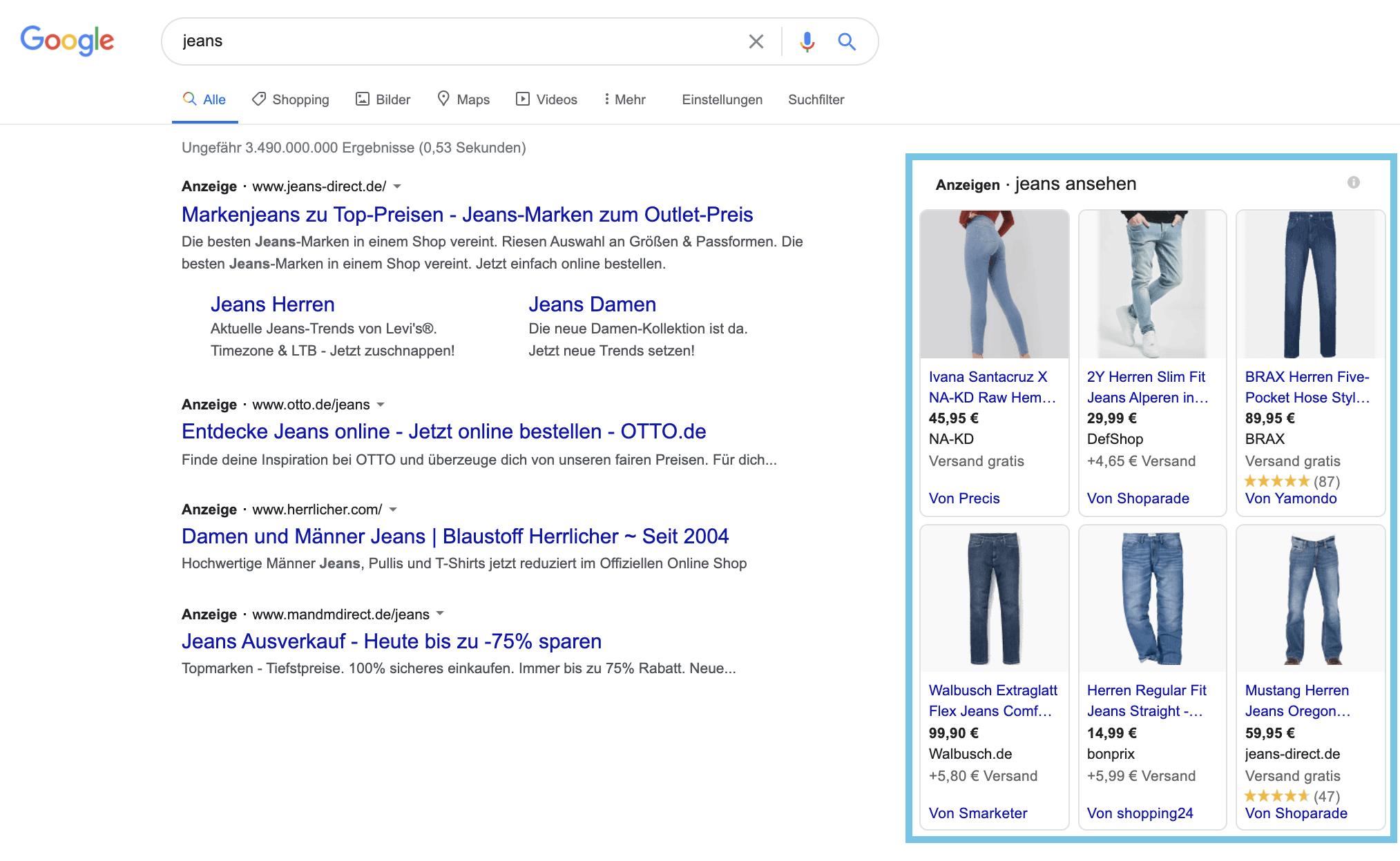 Auf der Suchergebnisseite findest Du rechts neben den Textanzeigen die Shopping-Anzeigen