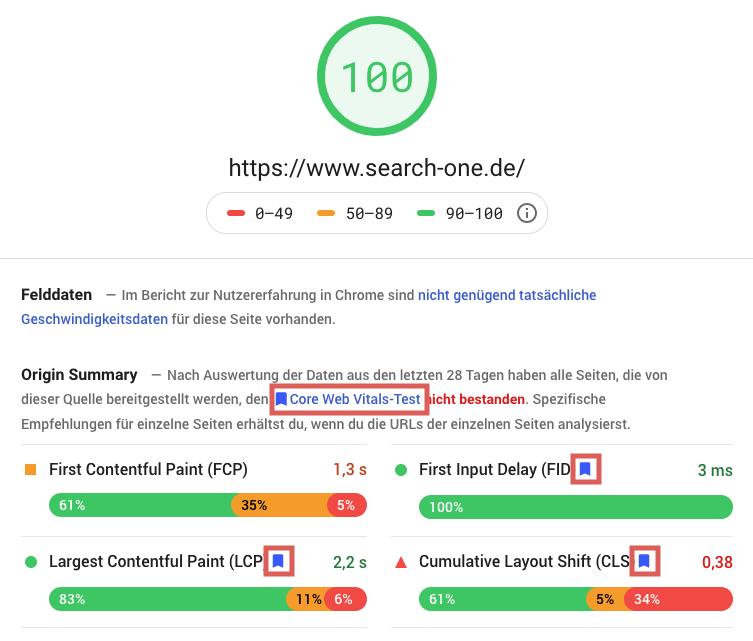 """Im Screenshot des PageSpeed Insights Tools, findest Du die Core Web Vitals im Abschnitt """"Origin Summery"""" mit einem blauen Abzeichen versehen."""