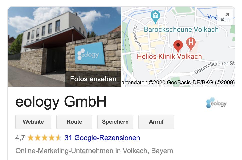 Dieser Screenshot zeigt einen Auschnitt des Google My Business-Eintrags der eology GmbH. Unterhalb des Website- oder Route-Buttons findest Du hier die bereits abgegebenen Google-Rezensionen.