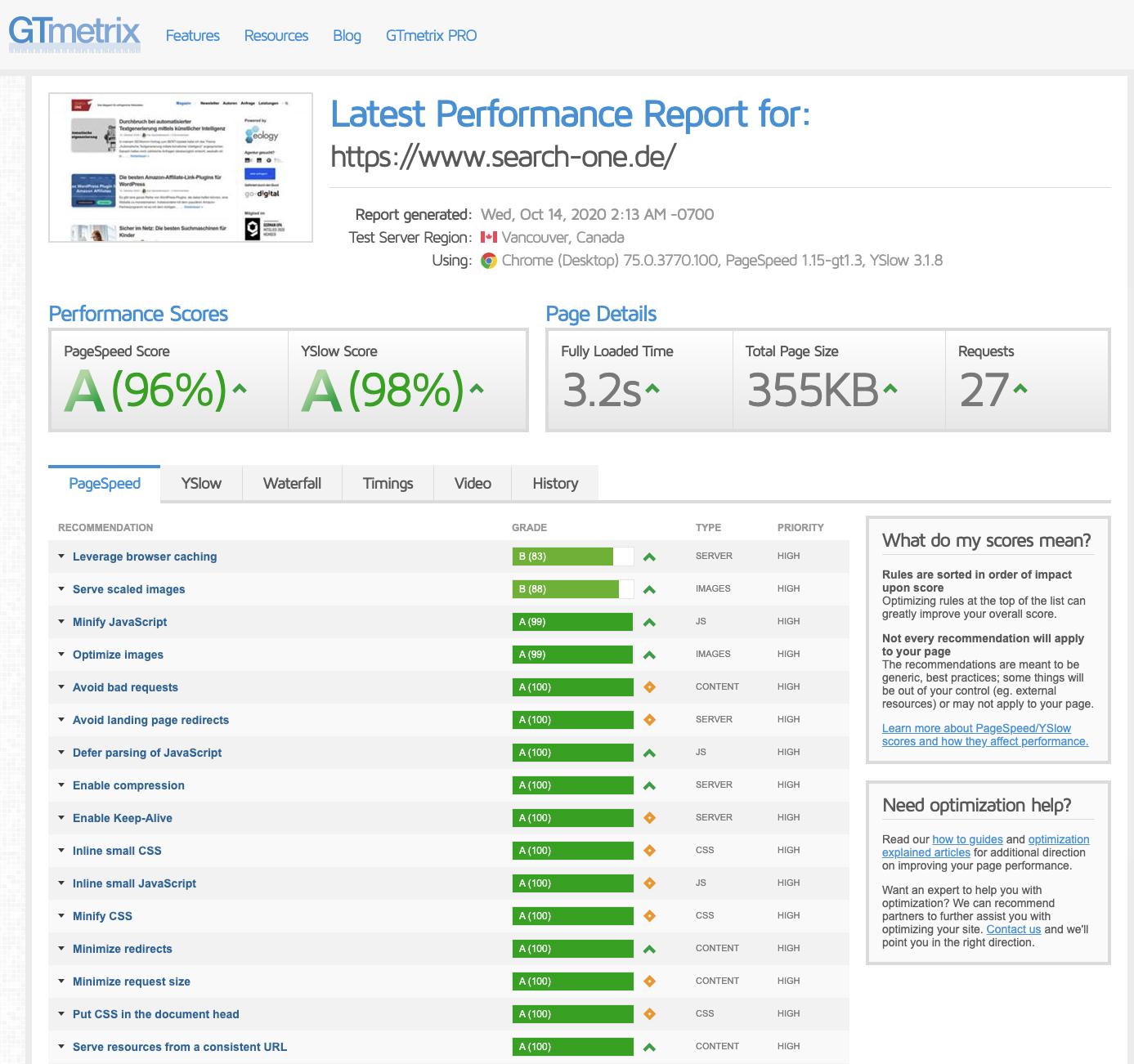 Einblicke in GTmetrix und seine unterschiedlichen Bereiche: 1. Performance Scores 2. Page Details 3. Optimierungsmöglichkeiten unterteilt nach PageSpeed, YSlow, Waterfall, Timings, Video und History