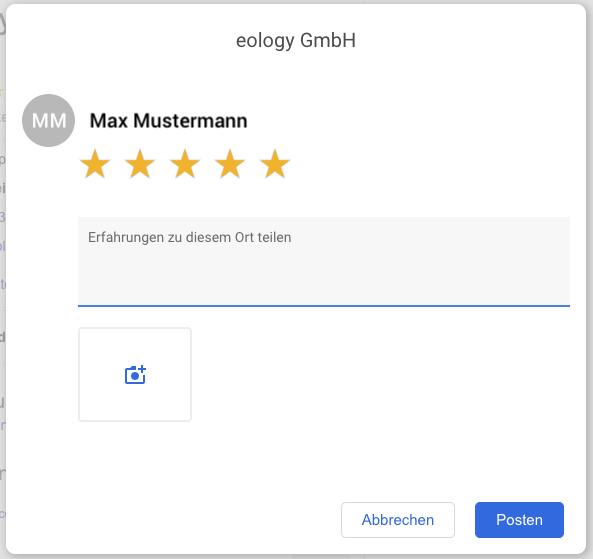 """Hast Du den Button """"Rezension abgeben"""" im Google My Business-Profil eines Unternehmens geklickt, öffnet sich ein weiteres Fenster. Hier hast Du nun die Möglichkeit Deine Bewertung einzugeben. Diese kann aus drei Elementen bestehen: Sterne, Text, Bild. Dabei ist jedoch nur die Sternebewertung verpflichtend."""