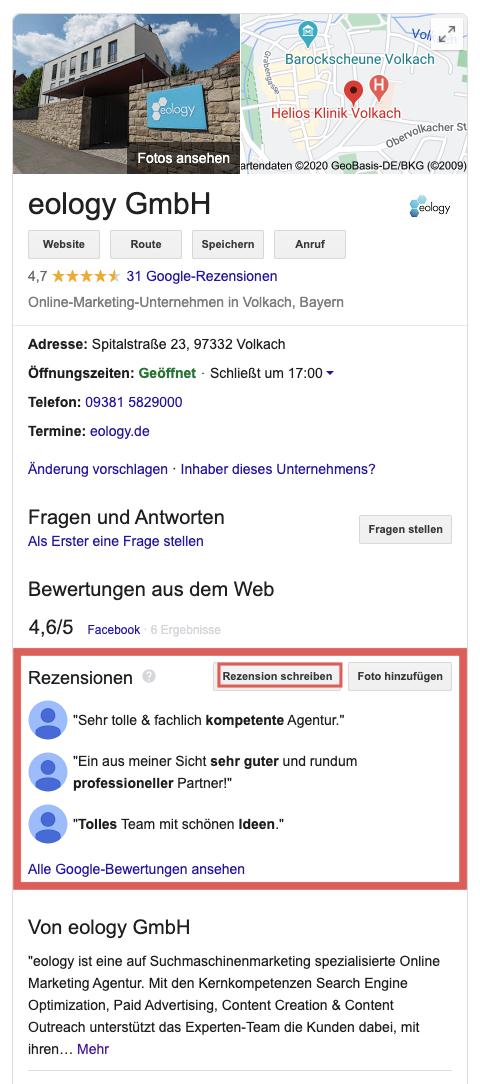 """Zu sehen ist das Google My Business-Profil der eology GmbH. Neben allgemeinen Informationen zu Adresse, Öffnungszeiten, Route, Website, etc. findest Du dort auch die bereits abgegebenen Bewertungen. Über den Button """"Rezension schreiben"""" im Info-Feld des Unternehmens öffnest Du das Fenster, in dem Du Deine Bewertung eingeben kannst. Außerdem kannst Du Dir hier alle bereits abgegebenen Google-Bewertungen ansehen."""