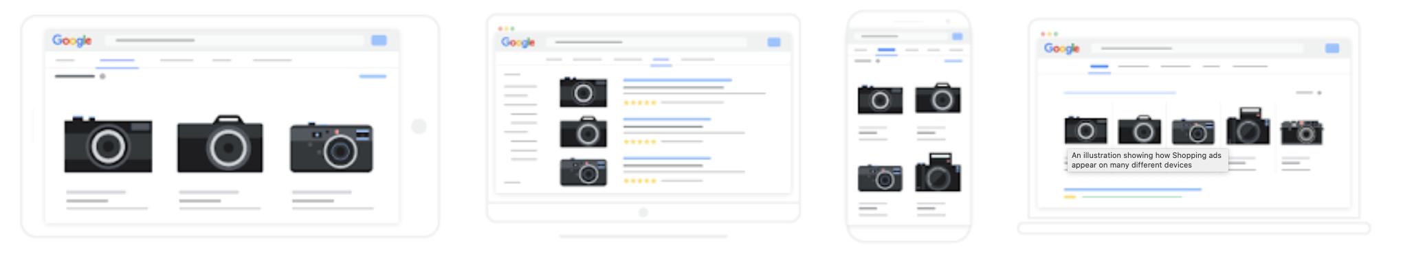 So können Produkt Shopping Anzeigen je nach Bildformat und Endgerät aussehen, Quelle: Google