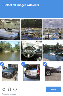 Image captcha: The captcha with the widest distribution on the web. Here, the user selects certain images that belong to a given category.