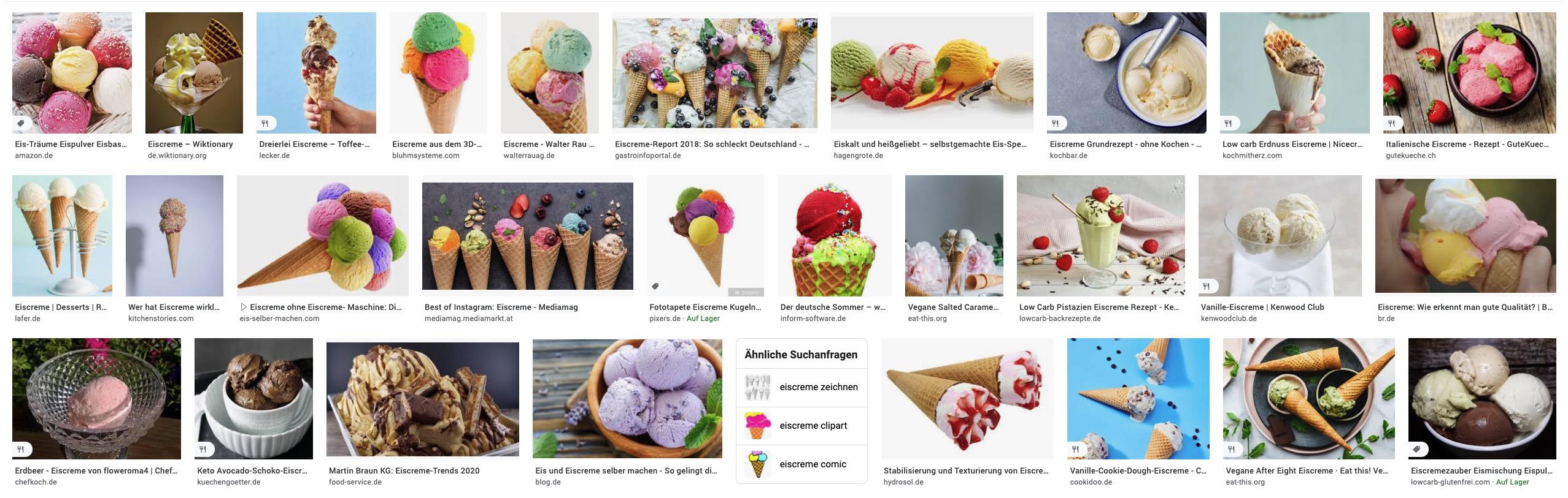 """Der Screenshot zeigt eine Google Bildersuche zur Suchanfrage """"Eiscreme"""". Dabei wird deutlich: Google legt lediglich die Bildhöhe fest. Bei der Bildbreite variieren die einzelnen Thumbnails."""