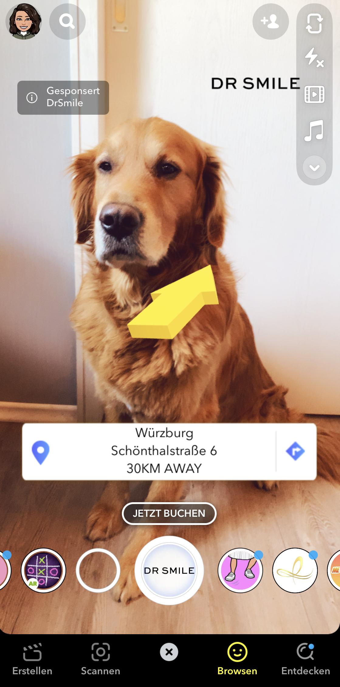Das Bild zeigt ein Beispiel eines Snapchat Geofilters zu Werbezwecken