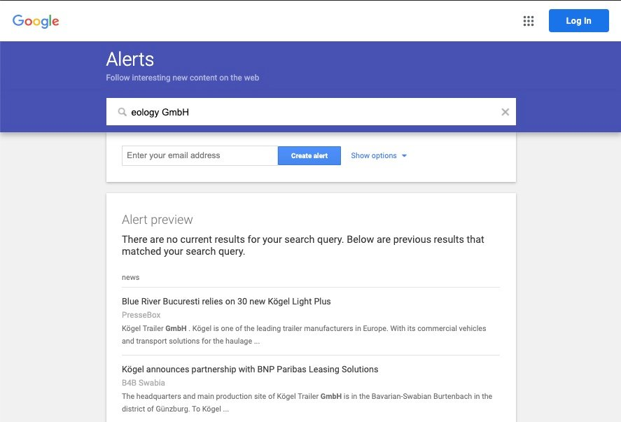 """The image shows you a screenshot of Google Alerts. Here you can see the alert preview for the keyword """"eology GmbH"""" and get insight into the kind of alerts related to your keyword."""