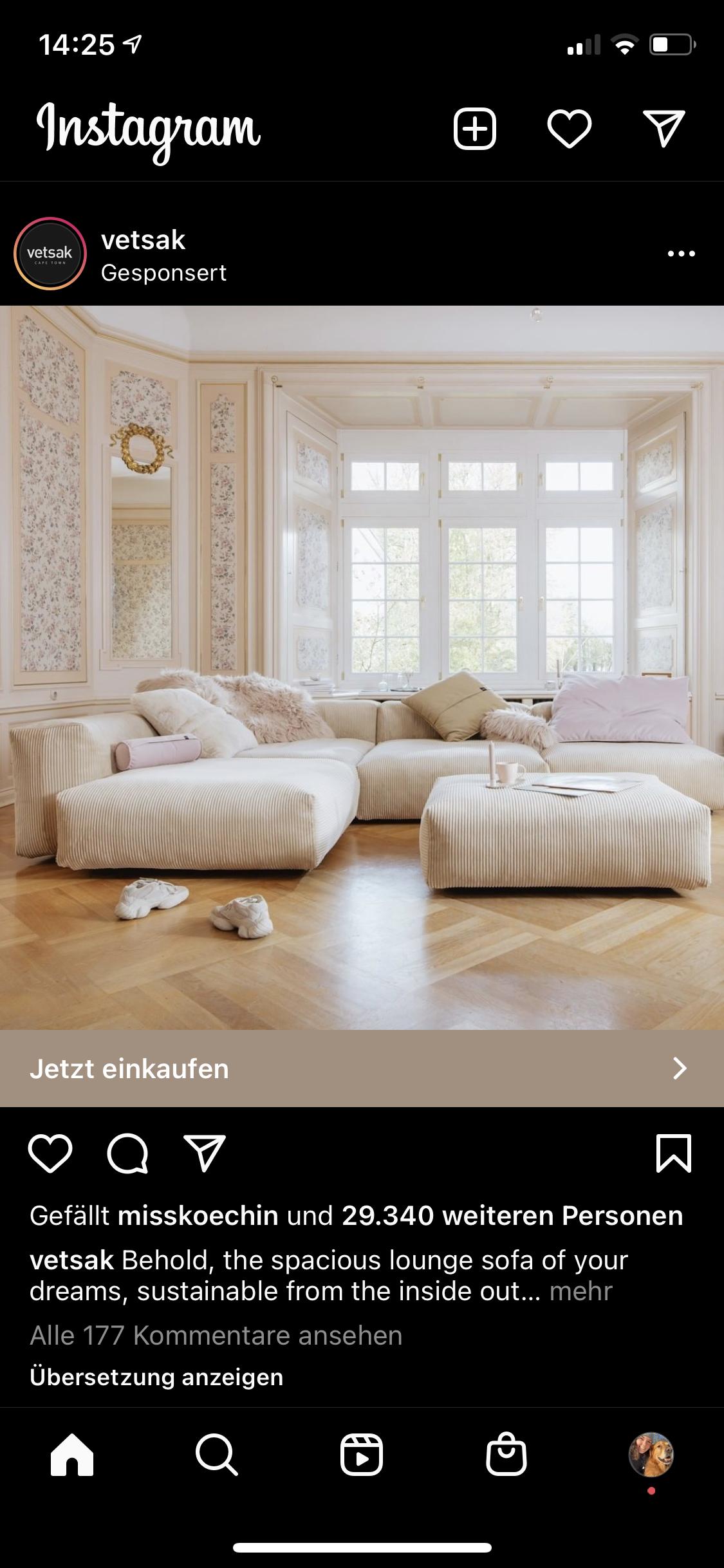"""Das Bild zeigt eine Instagram Ad, die im Feed des Nutzers platziert ist. Gekennzeichnet wird sie durch die Markierung """"Gesponsert""""."""