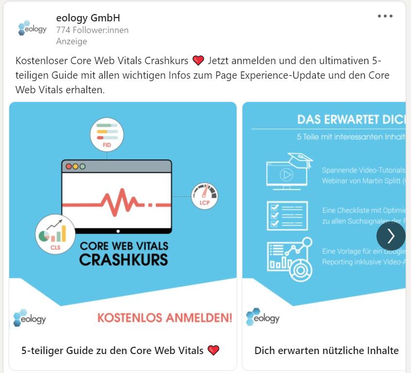 Das Bild zeigt eine LinkedIn Werbeanzeige der eology GmbH, welche einen kostenlosen Core Web Vitals Crashkurs bewirbt.