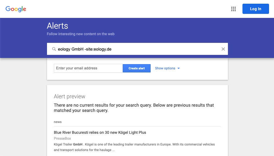 The screenshot shows you the possibility to customize and refine your alert using search operators.