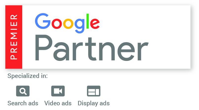 Das Bild zeigt das alte Google Premier Partner-Logo der eology GmbH mit der Spezialisierung auf Such-, Video- und Displayanzeigen.