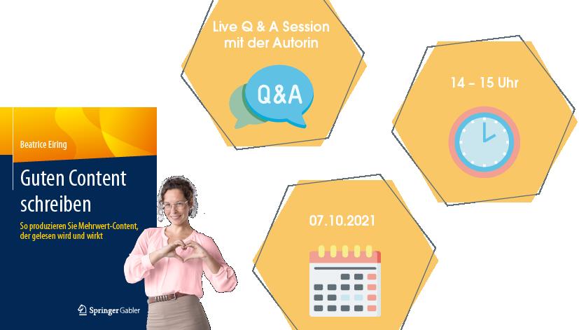 """Webinar """"Guten Content schreiben: Live Q & A Session mit der Autorin"""" am 07.10.2021 um 14 Uhr"""