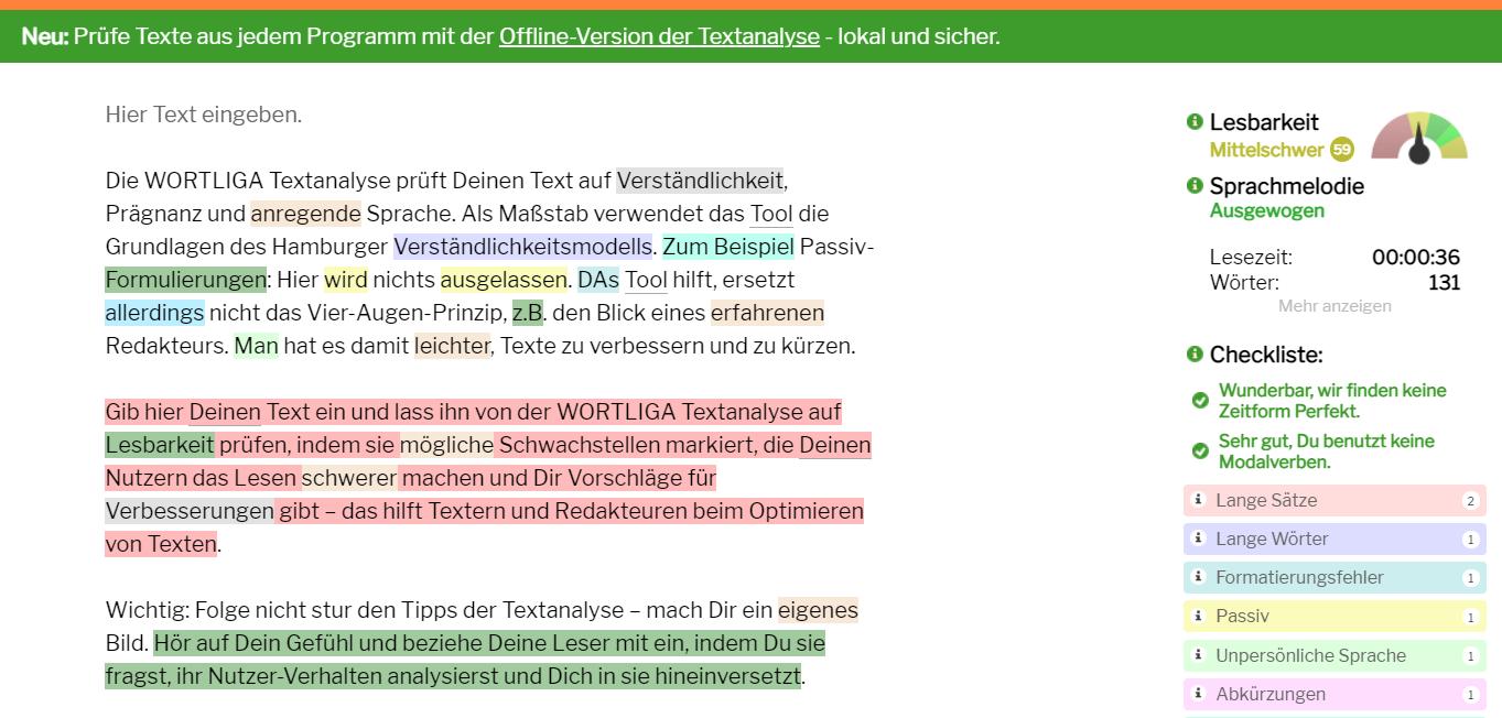 Grafische Darstellung einer Textauswertung über das Textanalyse-Tool zu Messung der Keyword-Dichte