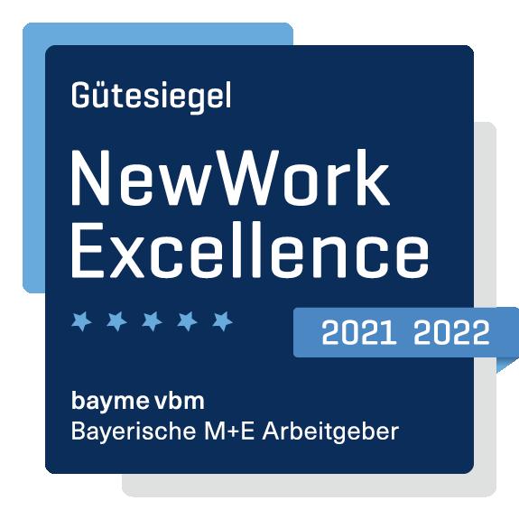 Das Bild zeigt das NewWork Excellence Siegel des bayme vbm.