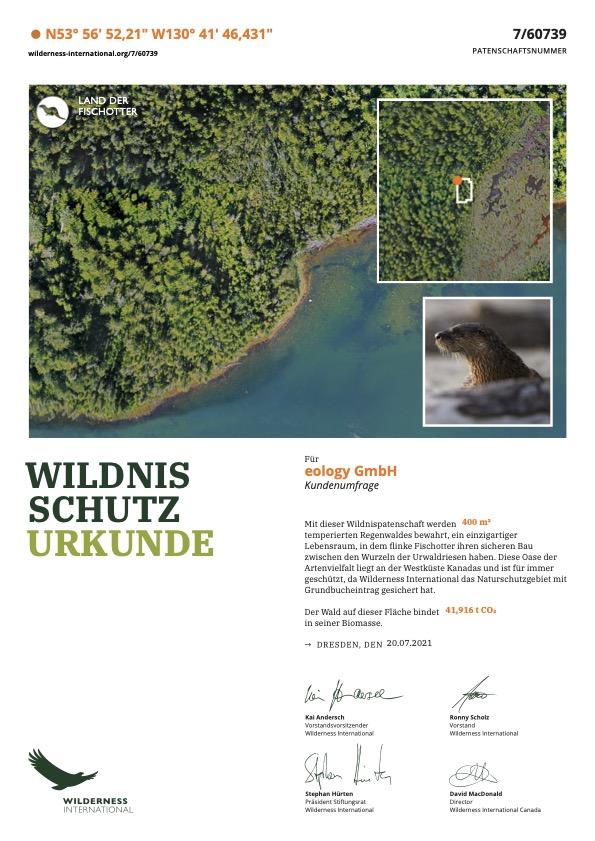 Urkunde von Wilderness International zur Spende über 400 Quadratmeter Wald in KAnada zum Schutz des Fischot