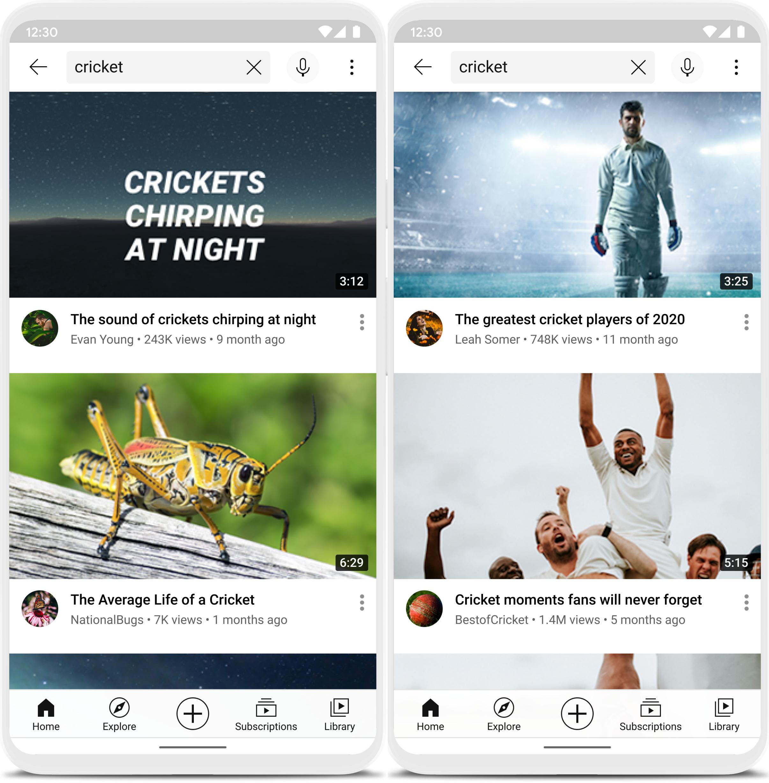 """Hier werden zwei unterschiedliche Suchergebnisse für das Schlagwort """"Cricket"""" auf YouTube dargestellt. Dieses kann je nach persönlichen Präferenzen des Suchenden variieren, weshalb hier einmal Suchergebisse für das Tier und einmal für die Sportart ausgespielt werden."""