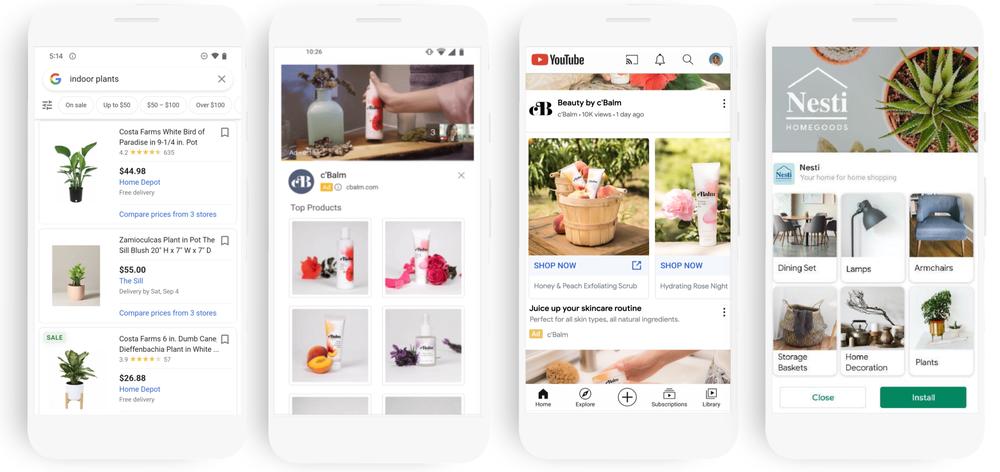 Auf dem Bild sind verschiedene Handys zu sehen, die Produktplatzierungen im Google-Universum zeigen. Dabei sind neben der klassischen Platzierung bei Google Shopping auch Display-Ads und Video-Kampagnen.