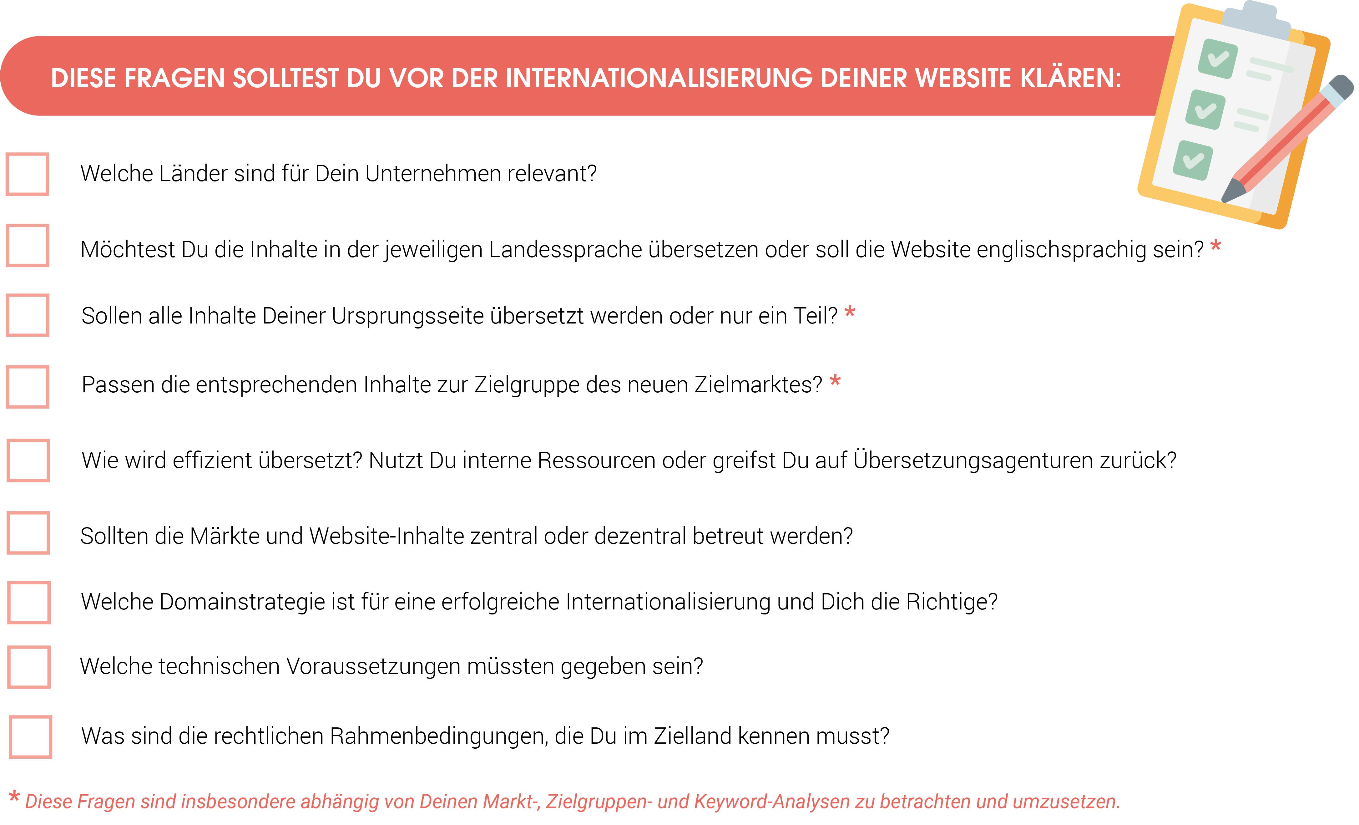 Das Bild zeigt eine Checkliste mit verschiedenen Fragen, die Du vor einer Internationalisierung Deiner Website klären solltest.