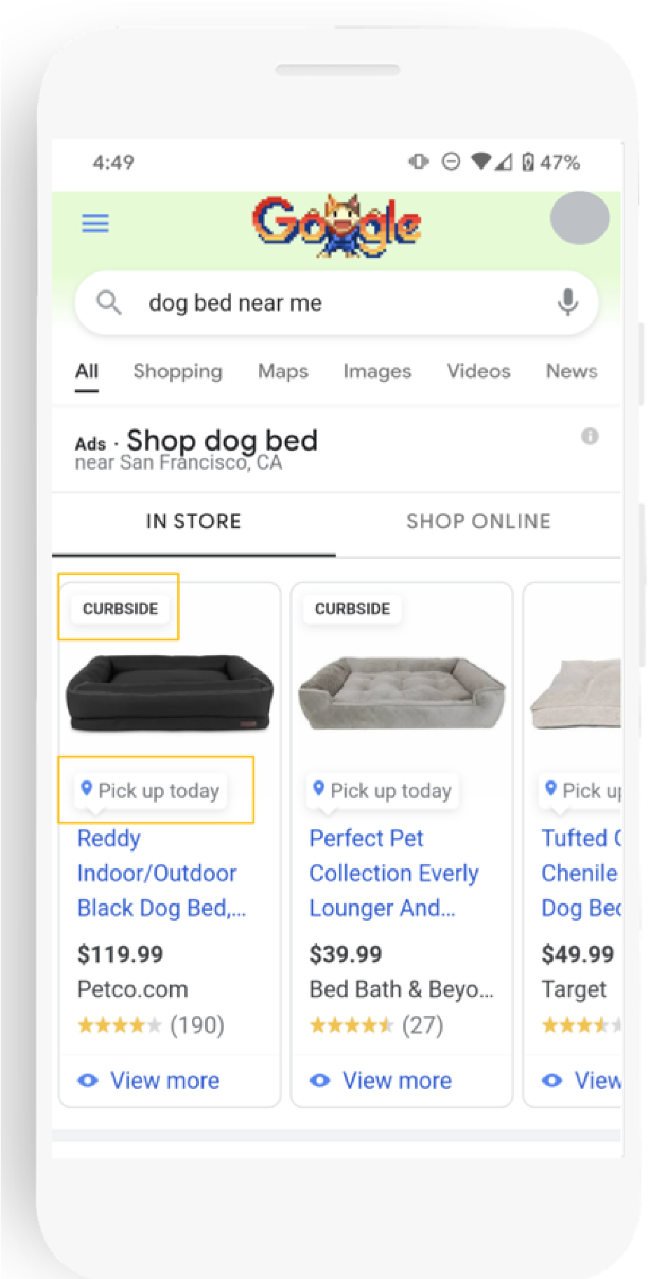 Auf dem Bild sind Google Shopping-Ergebnisse zu sehen, deren Produkte nicht nur online, sondern auch im Store zu finden sind. Diese sind mit einem speziellen Abholungs-Label versehen (gelb gekennzeichnet).