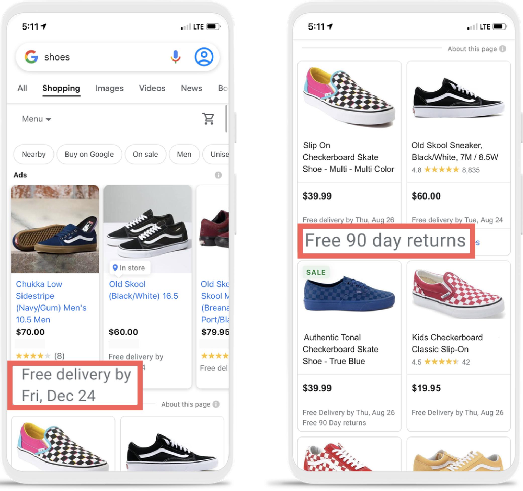 """Das Bild zeigt Beispiele von Google Shopping mit der Suchanfrage """"Schuhe"""". Hierbei sind rot umrandet die neuen Auszeichnungen von Google hervorgehoben. Diese können dabei beispielsweise verlängerte Rückgabefristen oder auch erwartetes Lieferdatum enthalten."""