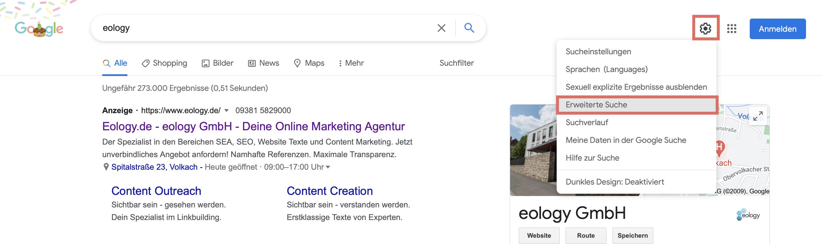Das Bild beschreibt, wie Du auf die erweiterte Suche von Google kommst.