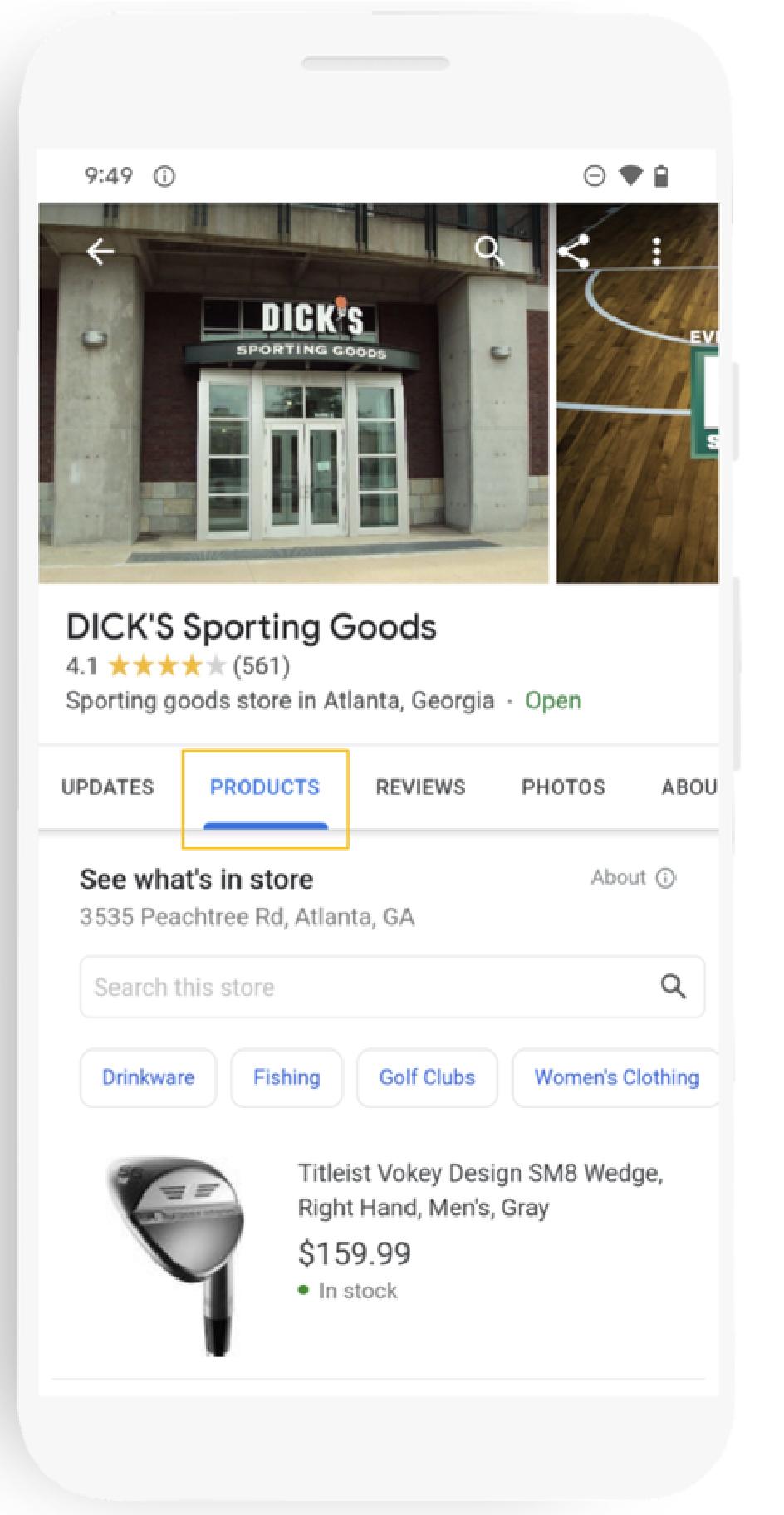 """Das Bild zeigt einen Ausschnitt eines Google My Business-Accounts, welcher den neuen Reiter """"Produkte"""" (gelb gekennzeichnet) beinhaltet."""